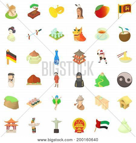 Chinese culture icons set. Cartoon style of 36 chinese culture vector icons for web isolated on white background