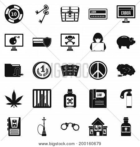 Offence icons set. Simple set of 25 offence vector icons for web isolated on white background