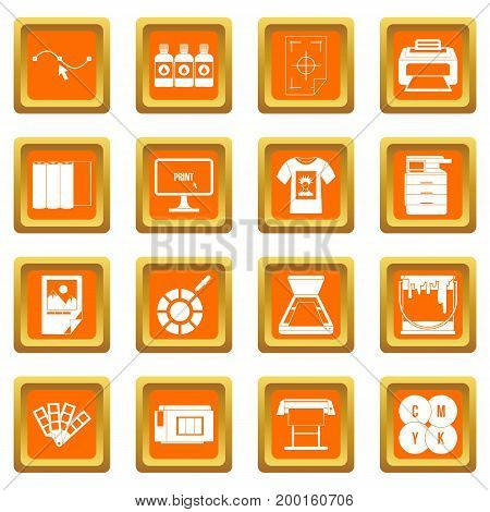 Printing icons set in orange color isolated vector illustration for web and any design