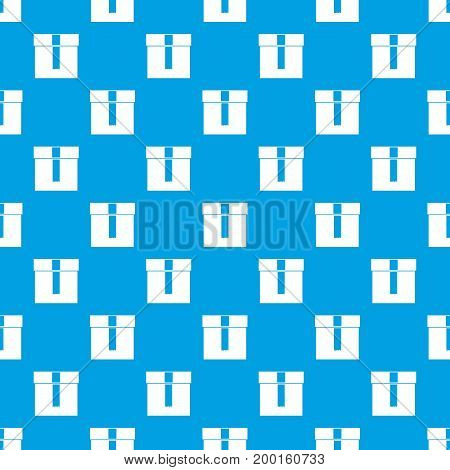 Box pattern repeat seamless in blue color for any design. Vector geometric illustration