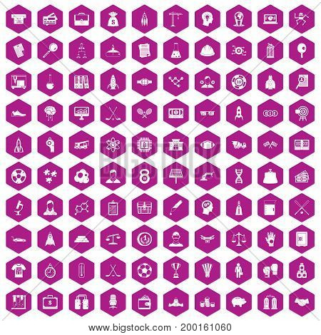 100 success icons set in violet hexagon isolated vector illustration