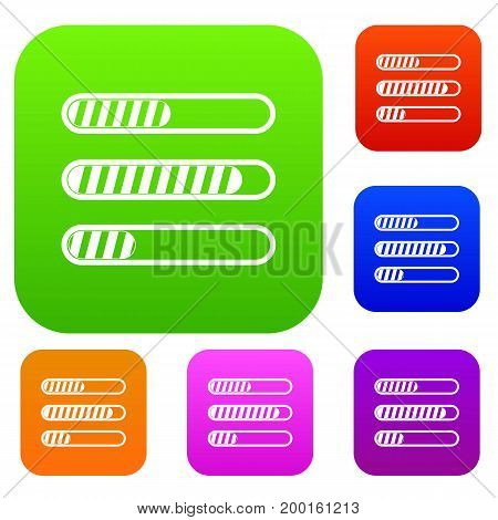Sign horizontal columns load set icon in different colors isolated vector illustration. Premium collection