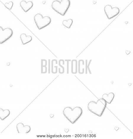 Cutout Paper Hearts. Square Abstract Frame On White Background. Vector Illustration.