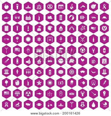 100 summer holidays icons set in violet hexagon isolated vector illustration