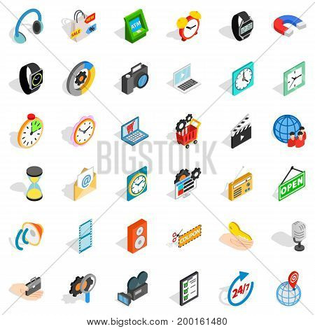 Old device icons set. Isometric style of 36 old device vector icons for web isolated on white background