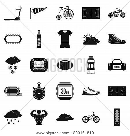 Bicycling icons set. Simple set of 25 bicycling vector icons for web isolated on white background