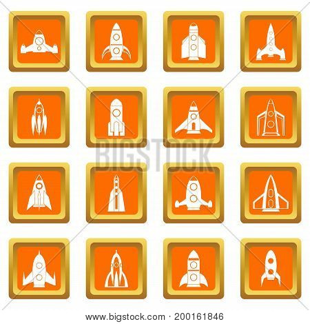 Rocket icons set in orange color isolated vector illustration for web and any design