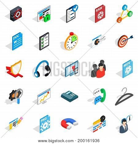 Announcement icons set. Isometric set of 25 announcement vector icons for web isolated on white background