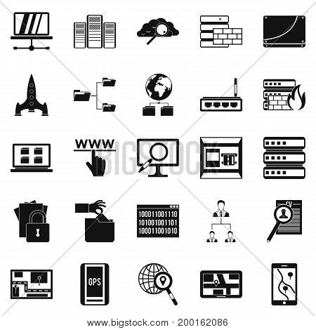 Internet protocol icons set. Simple set of 25 internet protocol vector icons for web isolated on white background