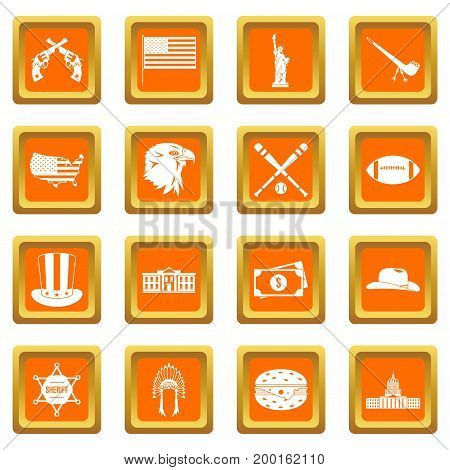 USA icons set in orange color isolated vector illustration for web and any design