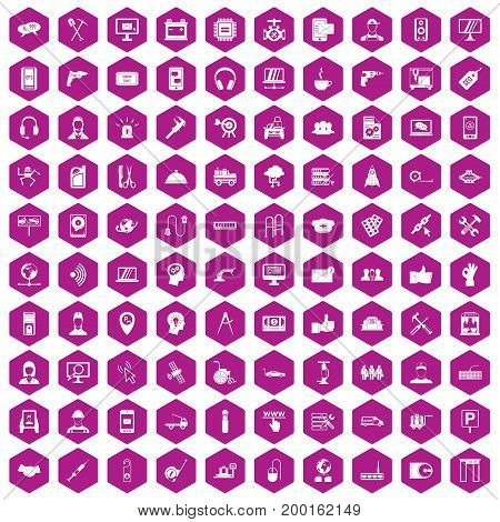 100 support center icons set in violet hexagon isolated vector illustration
