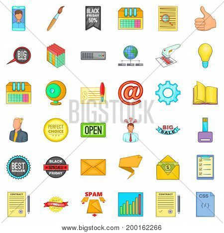Digital phone icons set. Cartoon style of 36 digital phone vector icons for web isolated on white background