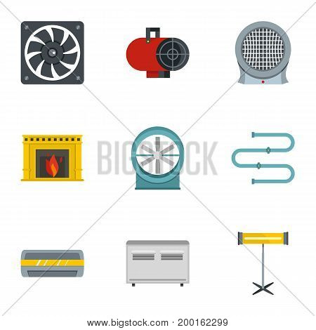Heating convector icon set. Flat style set of 9 electric heater vector icons for web isolated on white background
