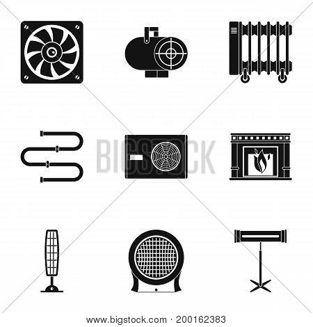 Conditioning icon set. Simple style set of 9 conditioning vector icons for web isolated on white background