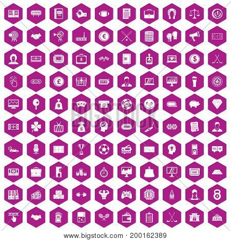 100 sweepstakes icons set in violet hexagon isolated vector illustration