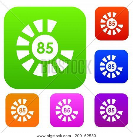 Sign 85 load set icon in different colors isolated vector illustration. Premium collection