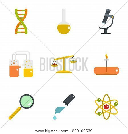 Chemistry icon set. Flat style set of 9 chemistry vector icons for web isolated on white background