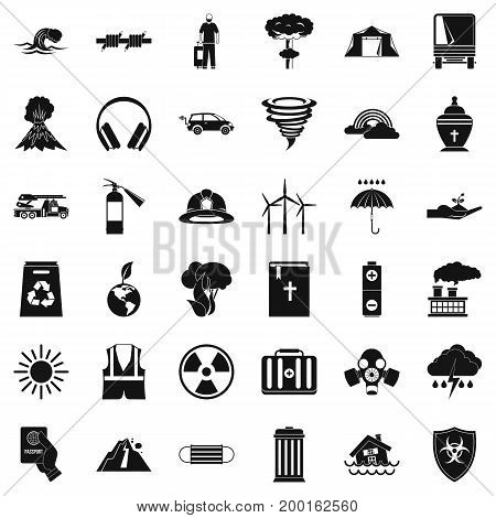 Danger disaster icons set. Simple style of 36 danger disaster vector icons for web isolated on white background