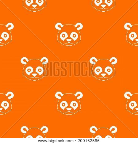Head of panda pattern repeat seamless in orange color for any design. Vector geometric illustration