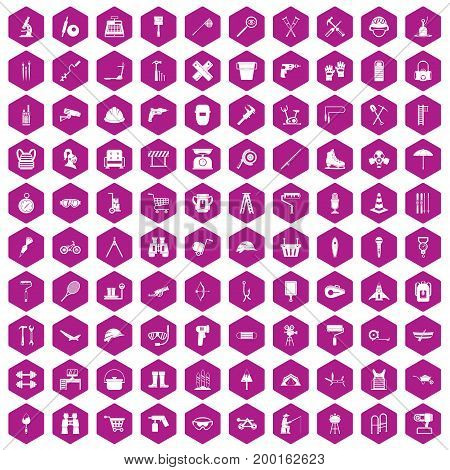 100 tackle icons set in violet hexagon isolated vector illustration
