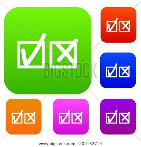 Checkmark to accept and refusal set icon in different colors isolated vector illustration. Premium collection
