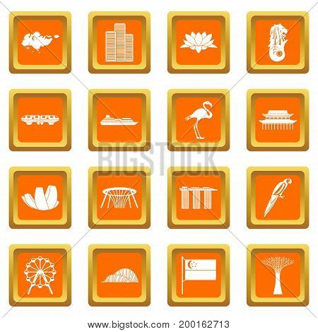Singapore icons set in orange color isolated vector illustration for web and any design