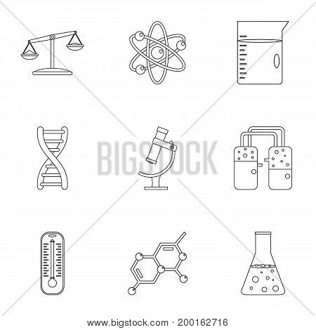 Chemical laboratory icon set. Outline style set of 9 chemical laboratory vector icons for web isolated on white background