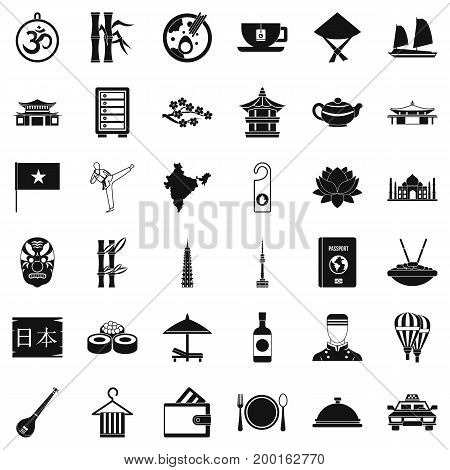 Food in dish icons set. Simple style of 36 food in dish vector icons for web isolated on white background