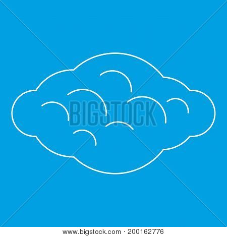 Curly cloud icon blue outline style isolated vector illustration. Thin line sign