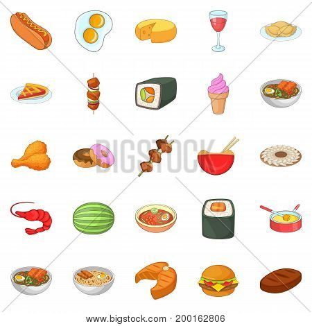 Dinner break icons set. Cartoon set of 25 dinner break vector icons for web isolated on white background