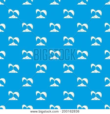 Green seedling in soil pattern repeat seamless in blue color for any design. Vector geometric illustration