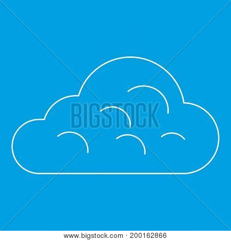 Rainy cloud icon blue outline style isolated vector illustration. Thin line sign