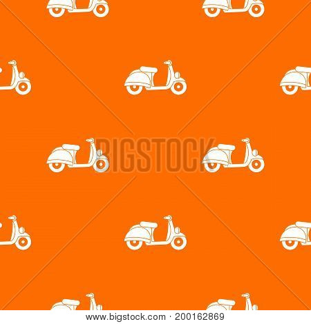 Motorbike pattern repeat seamless in orange color for any design. Vector geometric illustration