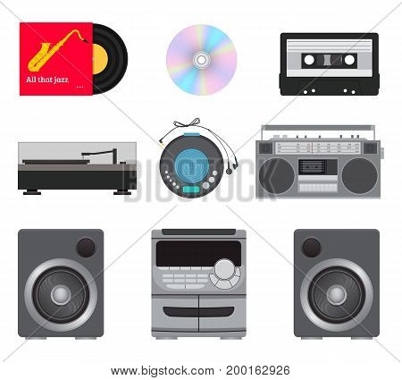 Set of retro and modern music players: vinyl record cassette disk radio stereo system with speakers. Vector illustration.