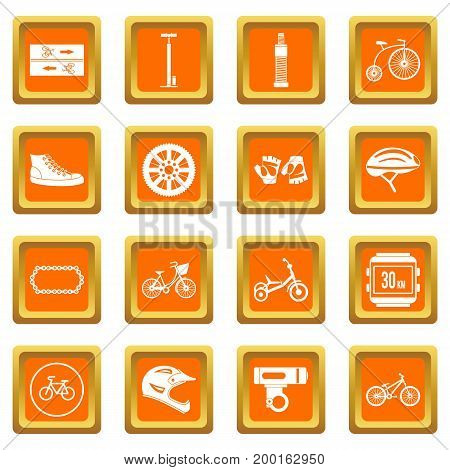 Biking icons set in orange color isolated vector illustration for web and any design