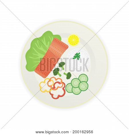 Piece of cooked salmon on a plate with rice and vegetables. Vector illustration.