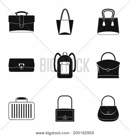Bag types icon set. Simple style set of 9 bag types vector icons for web isolated on white background