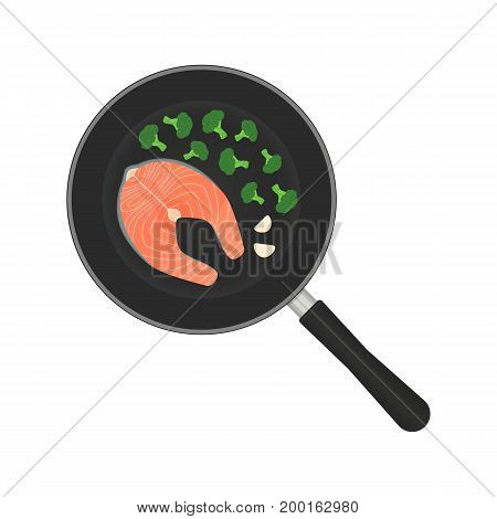 Vector illustration of a salmon steak in a frying pan with vegetables.