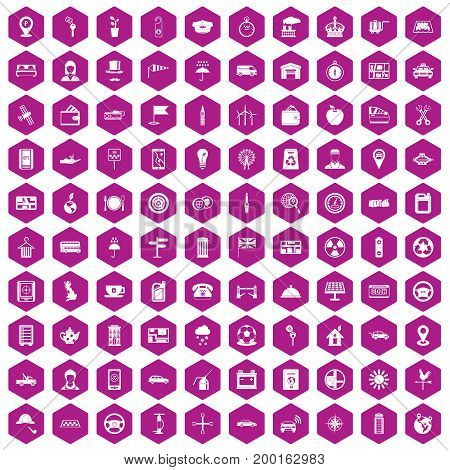 100 taxi icons set in violet hexagon isolated vector illustration