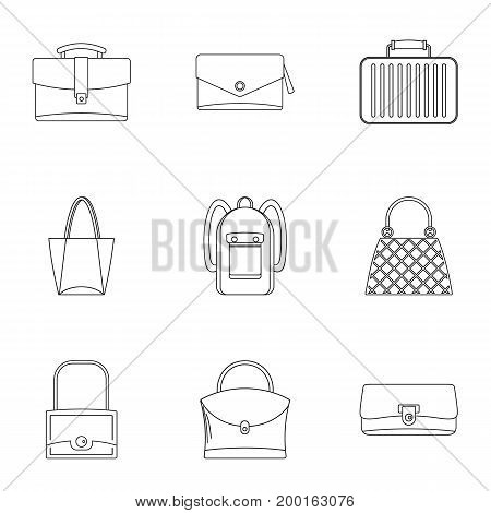 Different bagage icon set. Outline style set of 9 different bagage vector icons for web isolated on white background