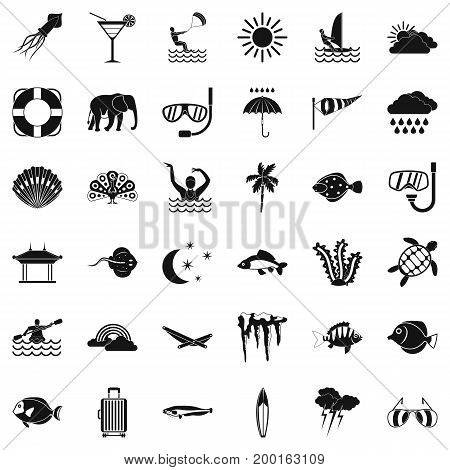 Water diving icons set. Simple style of 36 water diving vector icons for web isolated on white background
