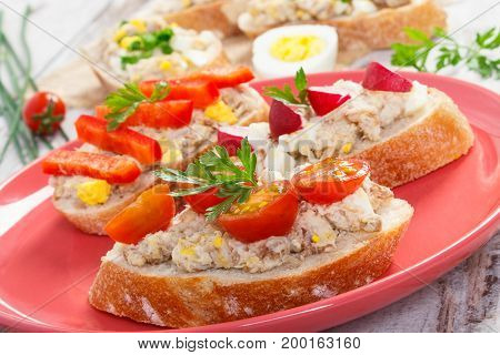 Crusty Sandwiches Or Baguette With Mackerel Or Tuna Fish Paste On Plate, Healthy Nutrition