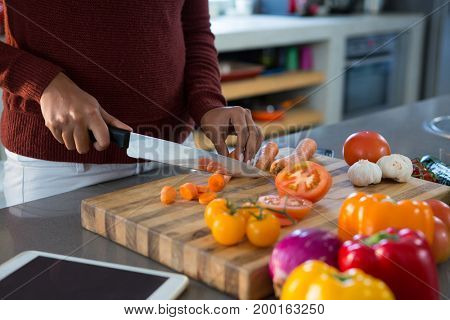 Mid section of woman cutting vegetables at kitchen counter