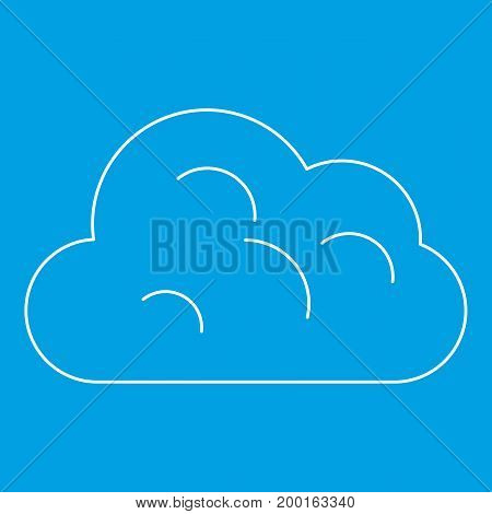 Big cloud icon blue outline style isolated vector illustration. Thin line sign