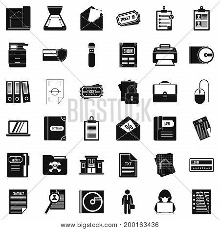Important document icons set. Simple style of 36 important document vector icons for web isolated on white background
