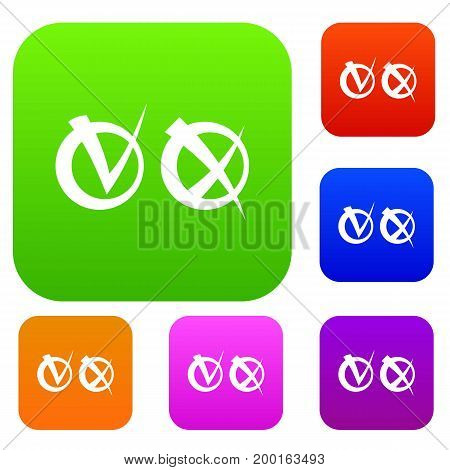 Tick and cross in circles set icon in different colors isolated vector illustration. Premium collection