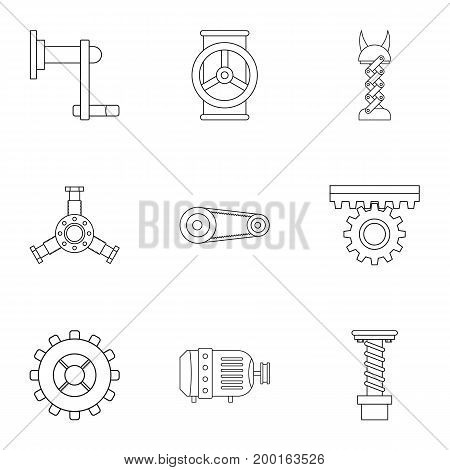 Mechanical gear icon set. Outline style set of 9 mechanical gear vector icons for web isolated on white background
