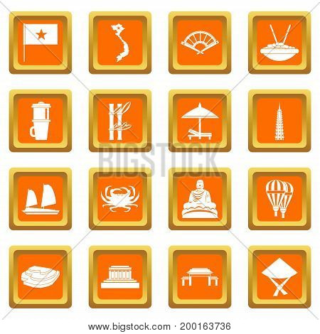 Vietnam travel icons set in orange color isolated vector illustration for web and any design