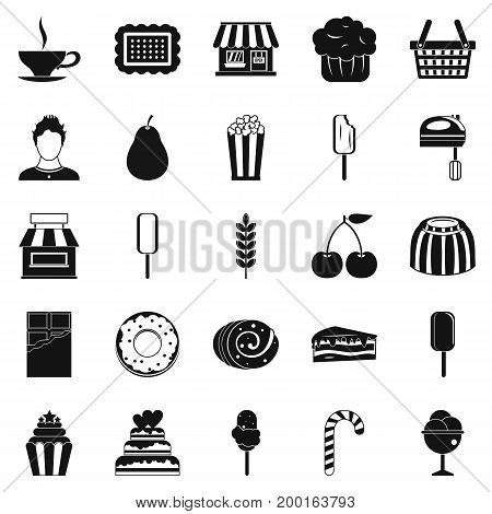 Pastry cook icons set. Simple set of 25 pastry cook vector icons for web isolated on white background