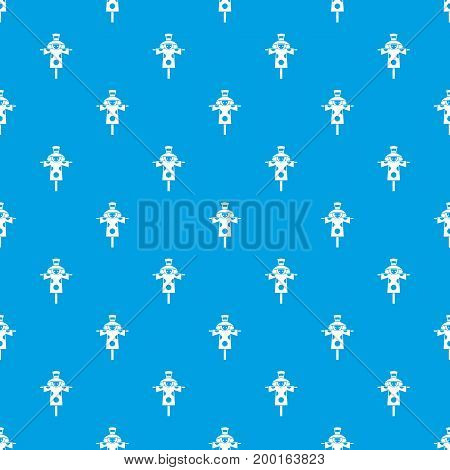 Scarecrow pattern repeat seamless in blue color for any design. Vector geometric illustration